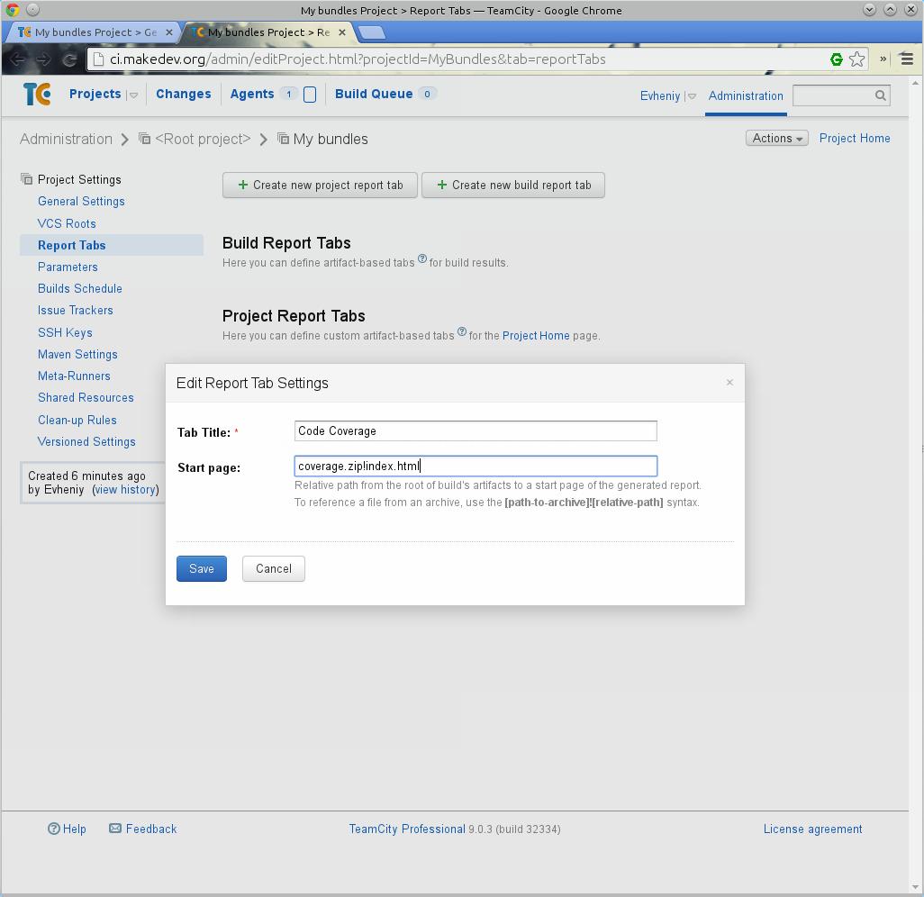 Create new build report tab (Создать новую вкладку отчета сборки)