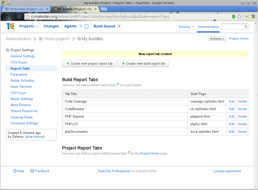 Пример вкладок для отчетов